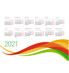 Year 2021 calendar design template vector