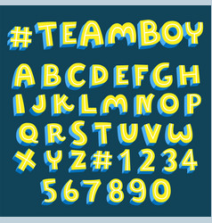 yellow font with blue shadow collection vector image