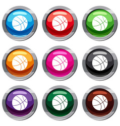 basketball ball set 9 collection vector image vector image