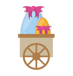 cart with easter eggs decoration bow vector image