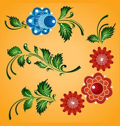 floral ornaments set russian gorodets folk vector image vector image
