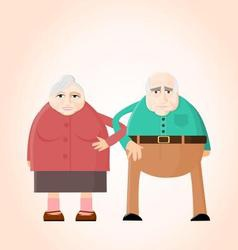 Old couple holding hands vector image vector image
