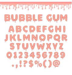 set of bubble gum letters vector image