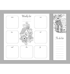 Weekly list design for notepad Sketchbook diary vector image