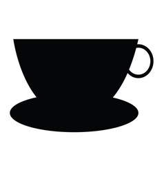 cup and dish silhouette vector image vector image