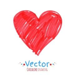 Felt pen drawing of heart vector image