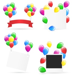 Festive frames with inflatable bright air balls vector image vector image