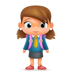 Realistic School Girl Child Cartoon Education vector image