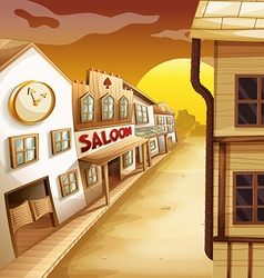 Scene with western style houses along the road vector image vector image