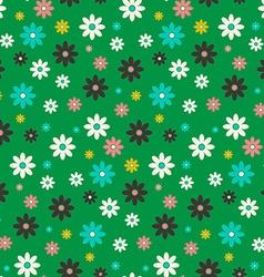 Seamless Flowers Pattern Flat Design Flower Set on vector image