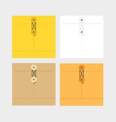 Tied sealed letter envelopes set isolated on white vector