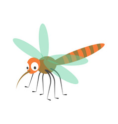 cute dragonfly with long proboscis and striped vector image vector image