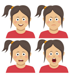 cute teenager girl having various expressions vector image