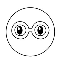 emoticon face with glasses kawaii style vector image vector image