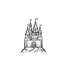 fairytale castle hand drawn sketch icon vector image