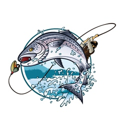 Fishing Salmon vector image vector image