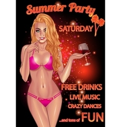 Gorgeous young woman in purple bikini party flyer vector image