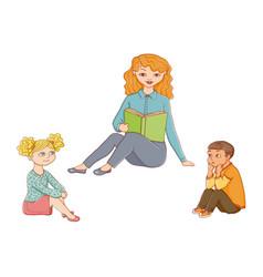 Kindergarten kids listening to teacher reading vector