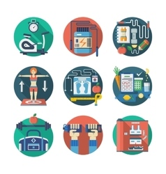 Sport lifestyle flat color icons set vector image vector image