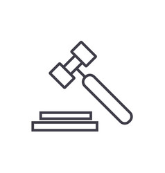 auction hammer line icon sign vector image