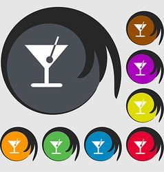 cocktail icon sign Symbol on eight colored buttons vector image