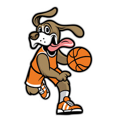 dog basketball mascot vector image vector image