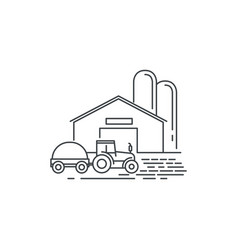 farm barn and tractor line icon outline vector image vector image