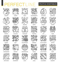 fruits and vegetables stroke outline concept vector image vector image