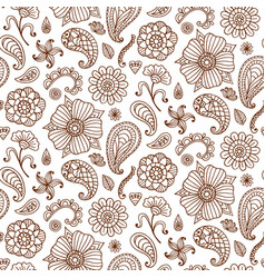 seamless pattern with henna tattoo set vector image