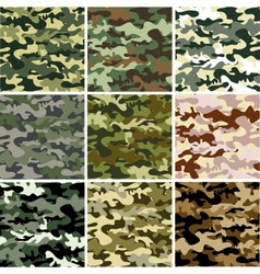 9 set camouflage pattern vector