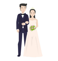 a bride and his couple wearing white dress in vector image