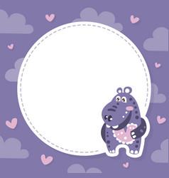 Adorable funny hippopotamus bacharacter with vector