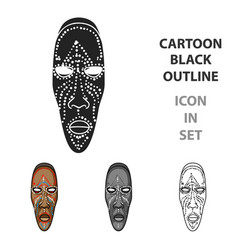 African mask icon in cartoon style isolated on vector