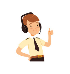 air traffic controller character boy in uniform vector image
