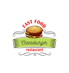 Appetizing cheeseburger for fast food design vector