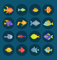Aquarium ocean fish underwater bowl tropical vector
