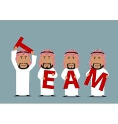 Arab businessmen creating a word team vector
