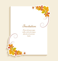 autumn card with corners yellow leaves vector image
