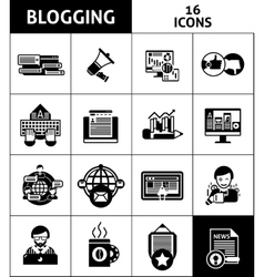 Blogging And Media Icons Set vector