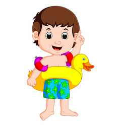 Boy using inflatable ring vector