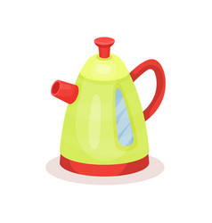 bright green kettle with red spout and handle vector image