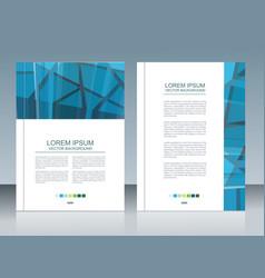 brochure template design with dark blue polygonal vector image