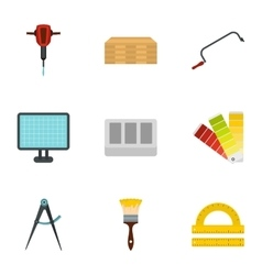 Building tools icons set flat style vector
