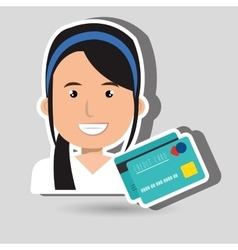 Business person with credit card isolated icon vector