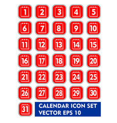 calendar icon set in red and white design square vector image