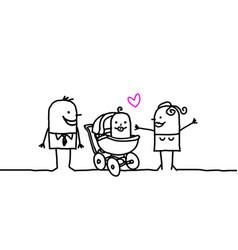 Cartoon family - new born baby vector