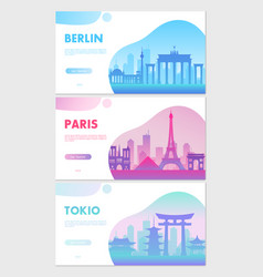 cartoon flat cityscape with famous architecture vector image