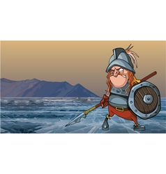 Cartoon medieval soldier in armor is on a frozen vector