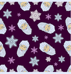 Christmas pattern of the heads of the arctic santa vector