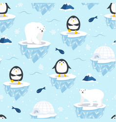 Christmas seamless pattern with penguin on ice vector